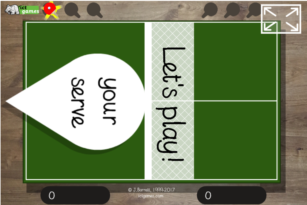 Tables Tennis - ICT Games - Maths Zone Cool Learning Games