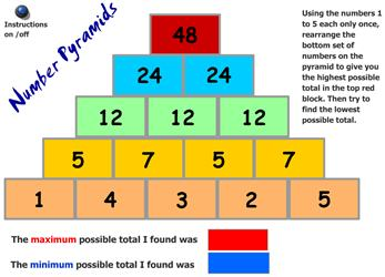 Number pyramid - adding - Crick - Maths Zone Cool Learning ...