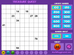 treasure quest math playground