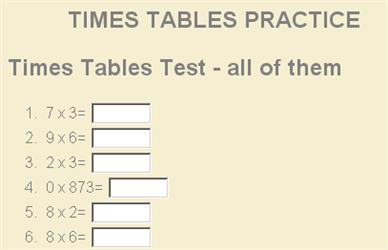 Number Names Worksheets time table worksheets to print : Mixed Times Tables Tests Ks2 - multiplication times tables and ...